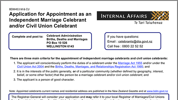 Application for Appointment as an Independent Marriage Celebrant and/or CivilUnion Celebrant Form